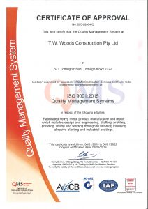 TWWoods Construction Pty Ltd has been achieved ISO 9001:2015 QMS Certification in fabricated heaven metal product manufacture and repairs, industrial coatings, abrasive blasting, engineering, pressing, rolling and welding